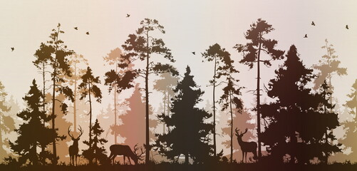 Wall Mural - seamless pine forest with deer and birds