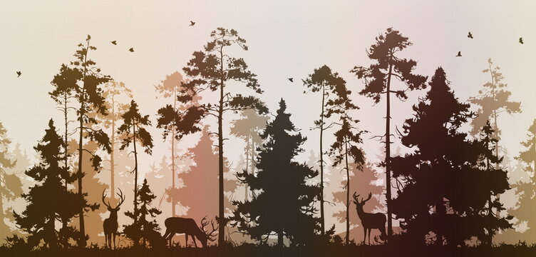 seamless pine forest with deer and birds