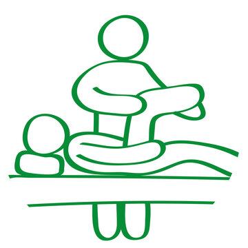 Handgezeichnetes Physiotherapie-Symbol in grün