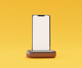 Smartphone on a presentation stand isolated on yellow background with blank screen. Technology advertising concept.3D illustration.