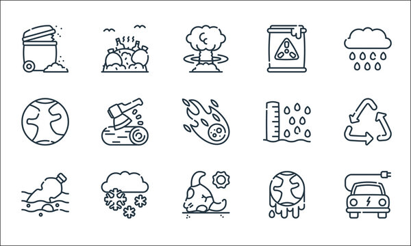 climate change line icons. linear set. quality vector line set such as electric car, bull, water pollution, climate change, snow, earth, sea level, nuclear, dump.