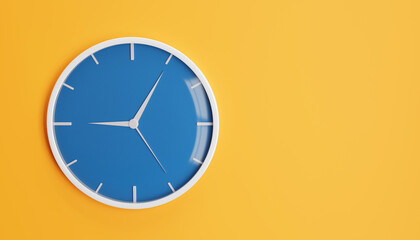 3D illustration of a isolated watch on orange wall background. Time measureing concept.