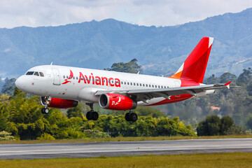 Avianca Airbus A319 airplane Medellin Rionegro Airport in Colombia