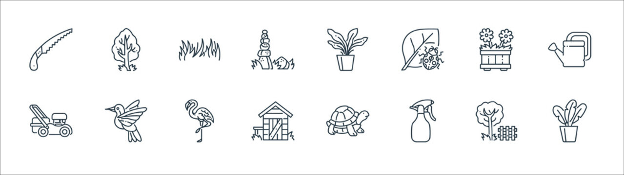 gardening line icons. linear set. quality vector line set such as plants, spray, shed, mower, flower pot, grass, plant, tree.