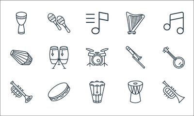 music instruments line icons. linear set. quality vector line set such as french horn, snare drum, trumpet, djembe, tambourine, dholak, trombone, harp, maracas.