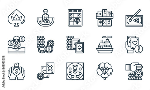 Wall mural casino line icons. linear set. quality vector line set such as chip, pachinko, money bag, lucky, blackjack, gambler, cruise, mahjong, baccarat.