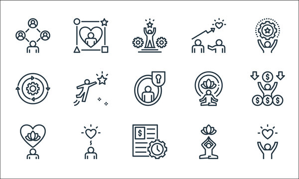 work life balance line icons. linear set. quality vector line set such as quality of life, work, mental, relaxation, wellness, management, meditation, coaching, lifestyle.