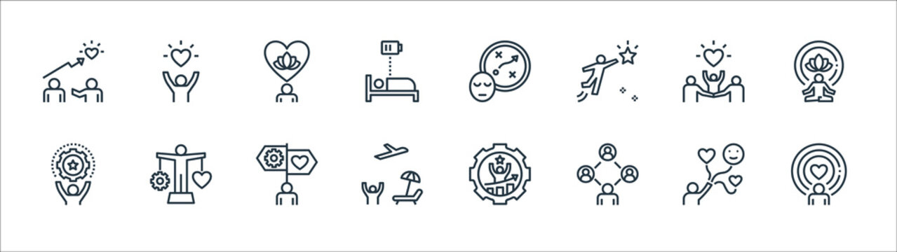 work life balance line icons. linear set. quality vector line set such as spirit, community, leisure, skill, family, mental, planning, quality of life.