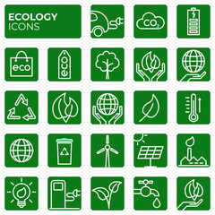 Ecology icons set. Environment protection. Alternative renewable energy. Global warming. Decarbonation. Eco friendly block linear sign collection. Vector symbols, icon