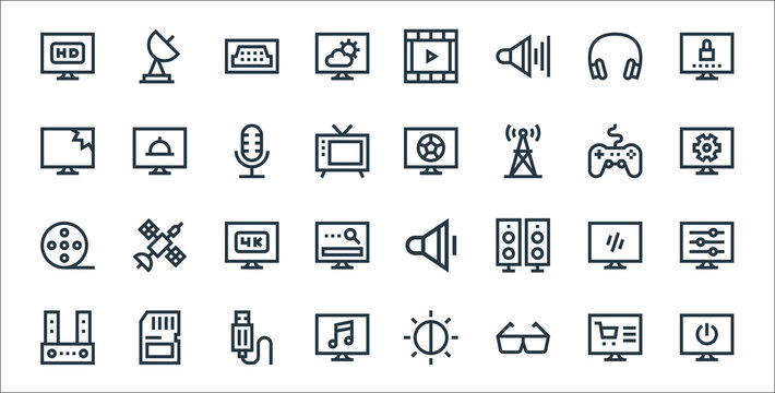 television line icons. linear set. quality vector line set such as power, d glasses, music, sound bar, tv, k, settings, football, cooking show.
