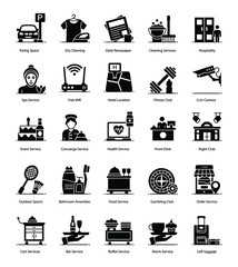 Hotel Services solid Icons Pack
