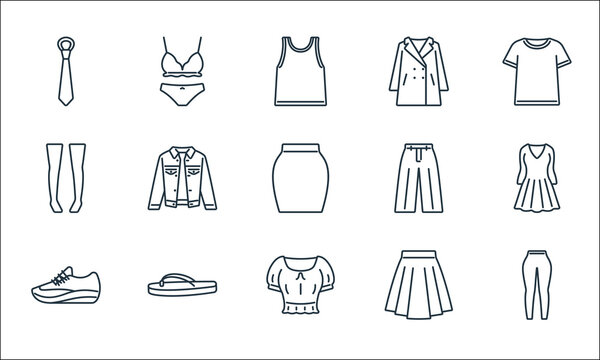 clothes and outfit line icons. linear set. quality vector line set such as leggings, crop top, sport shoe, skirt, flip flop, knee high socks, loose pants, overcoat, underwear.