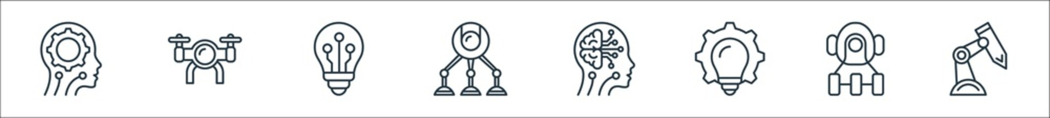 robotics line icons. linear set. quality vector line set such as robot arm, robot, bulb, artificial intelligence, robot, bulb, drone. Wall mural