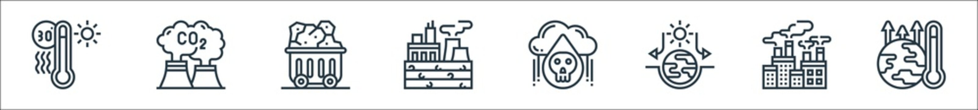 climate change line icons. linear set. quality vector line set such as global warming, air pollution, house effect, acid rain, fossil fuels, coal, carbon dioxide.