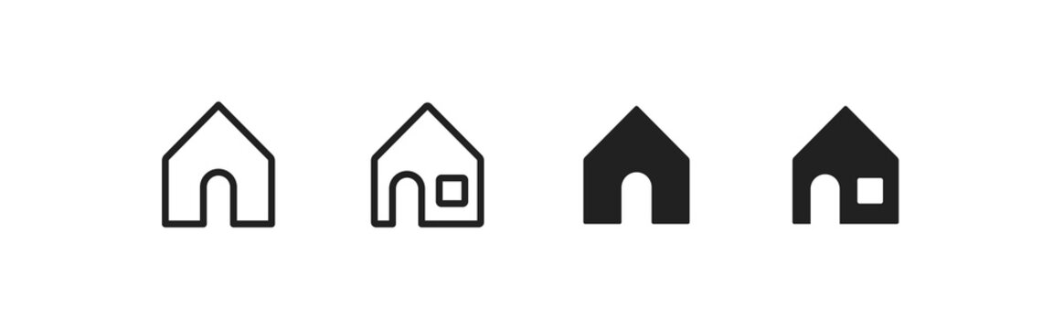 Simple house black and line icon set. Home concept isolated illustration in vector flat