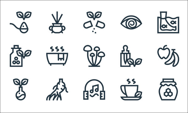 alternative medicine line icons. linear set. quality vector line set such as honey, music therapy, herbs, herbal tea, ginseng, homeopathy, essential oil, hypnosis, incense.