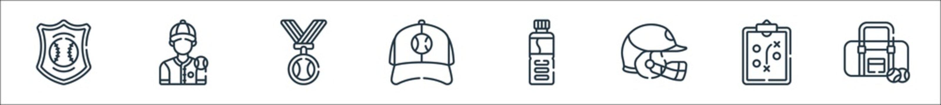 baseball line icons. linear set. quality vector line set such as baseball bag, strategy, helmet, water bottle, baseball cap, medal, player.