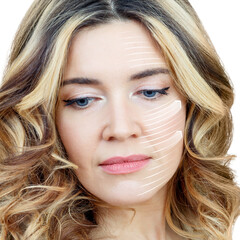 Graphic lines shows facial lifting effect on skin of beautiful woman.