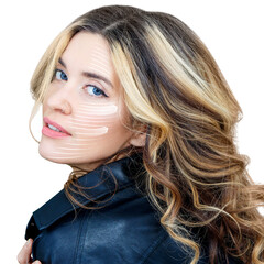 Beautiful woman with graphic lines shows facial lifting effect.