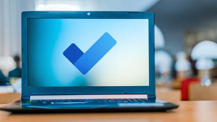 Laptop computer displaying logo of Microsoft To Do