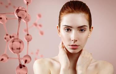 Beautiful redhead woman near pink glass molecule structure.
