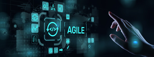 Agile development methodology concept on virtual screen. Technology concept.