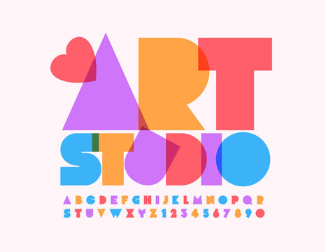 Vector logo Art Studio with decorative Heart. Abstract Colorful Font. Bright creative Alphabet Letters and Numbers