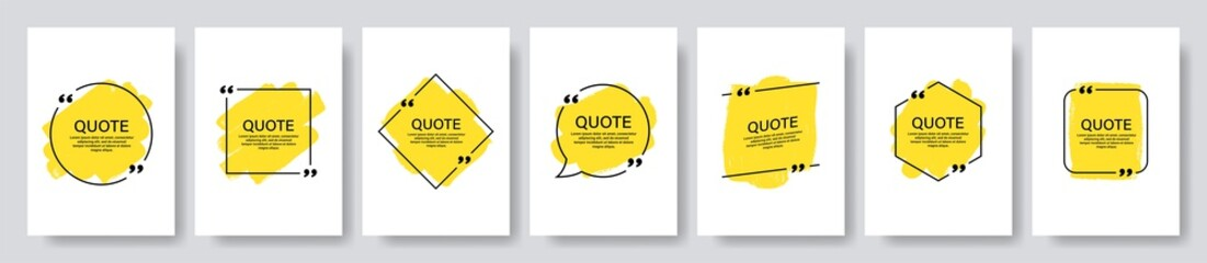 Quote box frame, big set. Texting quote boxes. Blank template quote text info design boxes quotation bubble blog quotes symbols. Creative vector banner illustration.