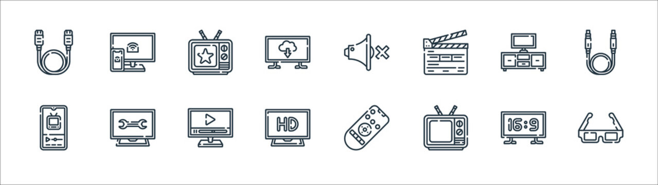 television line icons. linear set. quality vector line set such as d glasses, old, hd, smartphone, tv set, tv show, silent, screen.