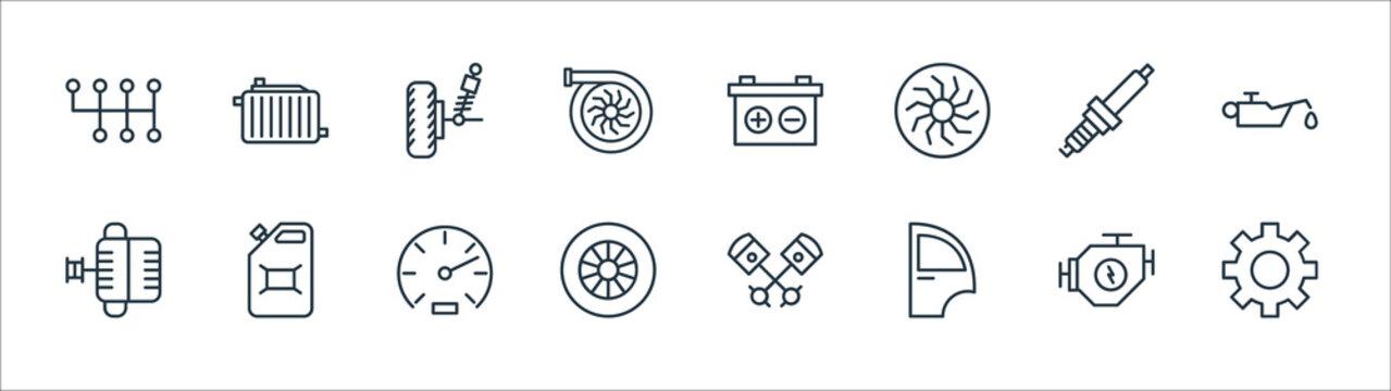 car parts line icons. linear set. quality vector line set such as gear, car door, wheel, alternator, spark plug, suspension, battery, radiator.