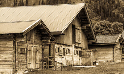 Wall Mural - old farmhouses at the eng alm in austria