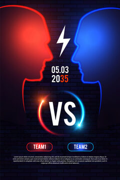 Versus. Sport competition template with men s heads silhouette and light. Team design.