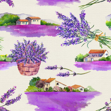 Lavender flowers field, bouquets, rural village houses. Watercolor in vintage provencal style. Seamless pattern on paper background
