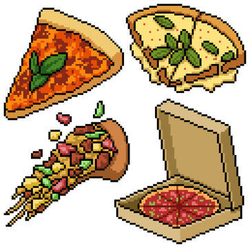 pixel art set isolated pizza meal
