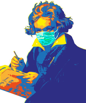 Ludwig van Beethoven pop art stil with hygienic protection