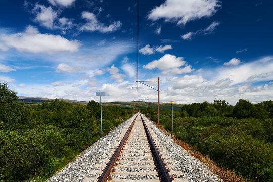 railway line in the countryside - Dovrebanen railway in the Norwegian Dovre mountains