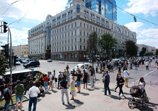 A view show a building where an unidentified man reportedly threatens to blow up a bomb in a bank branch, in Kyiv