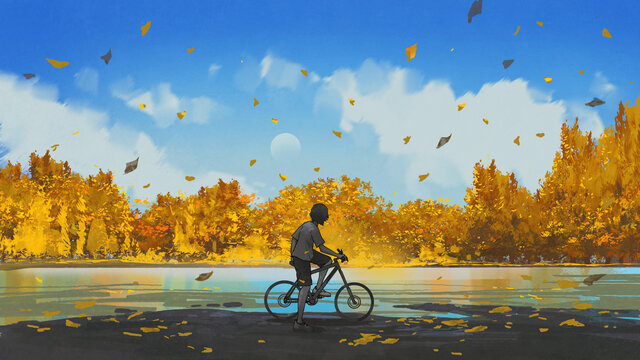 boy on a bicycle looking at the autumn view, digital art style, illustration painting