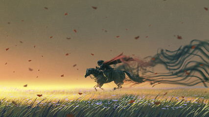 knight riding a horse running in the meadow, digital art style, illustration painting