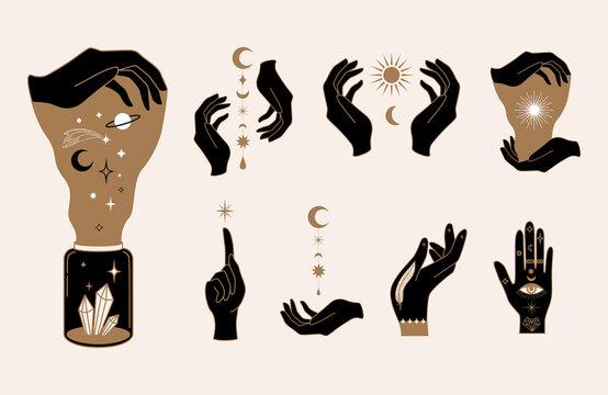 Elegant female witchy hands. Set of abstract hand drawn Vector illustrations.