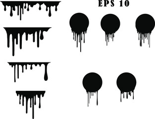 Black dripping ink painted oil drips liquid drops art messy paint splatter melt fluid spots. Dripping paint swashes just a collection of various size paint drips.