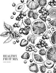 Hand drawn exotic citrus fruits and wild berries. Vector orange, lemon, grapefruit, mandarine, cherry, raspberry, blueberry, strawbeery. Engraved illustration. Menu, package cosmetic design.