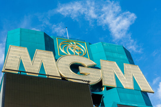 Las Vegas, Nevada, United States of America - January 11, 2017. MGM sign on the facade of of MGM Grand Hotel and Casino in Las Vegas, NV.