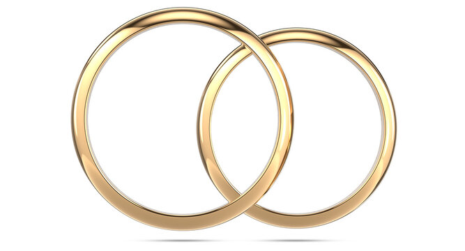 3d rendering illustration of two wedding rings isolated on white background. Top view of a pair of gold rings
