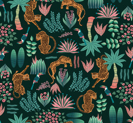 Wall Mural - Vector illustration of seamless Exotic Jungle pattern. Design for banner, poster, card, invitation fabric and scrapbook