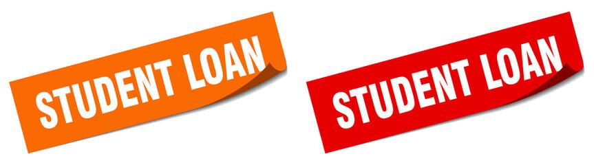 student loan paper peeler sign set. student loan sticker