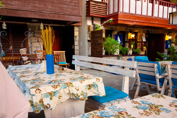 restaurant at the seaside. terrace with no visitors