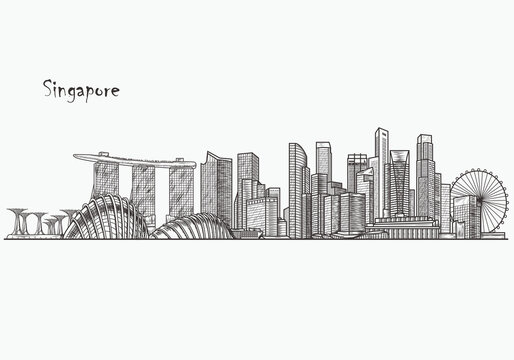 Singapore detailed skyline. Singapore in sketch style. Famous Singapore monuments. Vector illustration