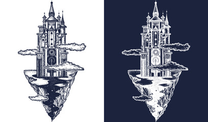 Medieval castle tattoo art. Ancient castle on the mountain. Symbol of the fairy tale, dream, magic. Medieval castle t-shirt design. Black and white vector graphics Wall mural