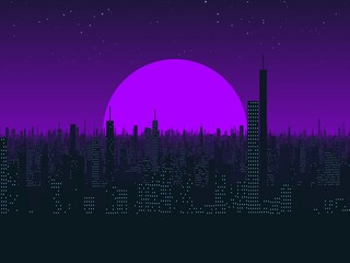 Illustration design of city building landscape with supermoon